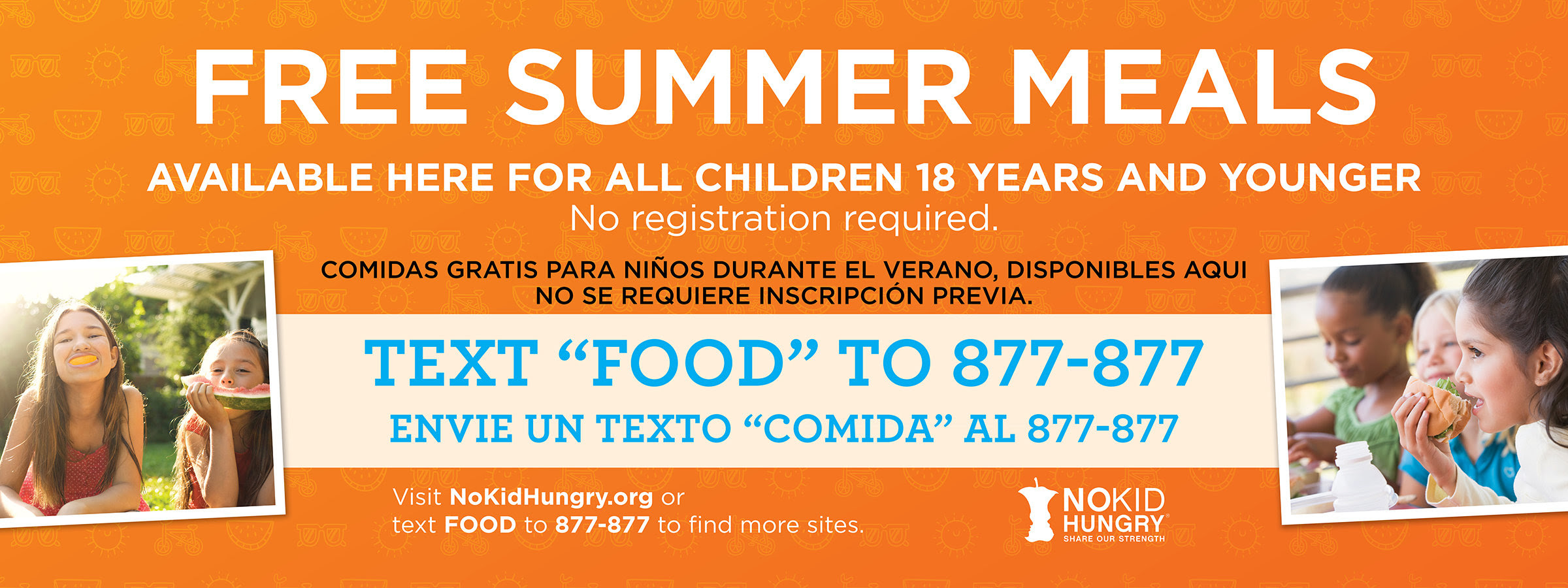 "Free Summer Meals - Text ""Food"" to 877-877"