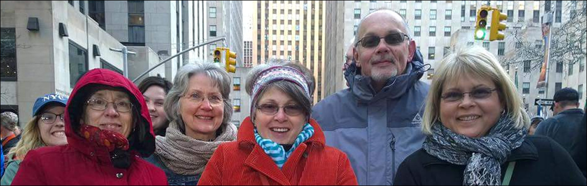 Fluvanna parents at filming of Today Show in Rockefeller Plaza, New York City, lobbying for educational legislation.